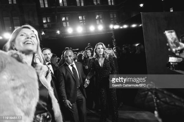 This Image has been converted to black and white Julia Roberts arrives at The Fashion Awards 2019 held at Royal Albert Hall on December 02 2019 in...