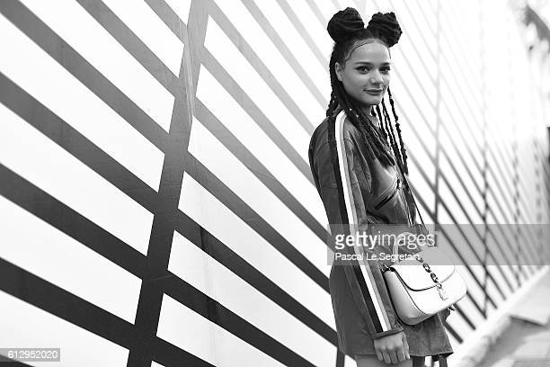 This image has been converted to Black and White Sasha Lane attends the Louis Vuitton show as part of the Paris Fashion Week Womenswear Spring/Summer...