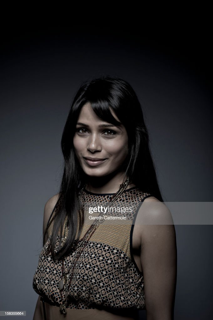 This image has been desaturated) Actress Freida Pinto during a portrait session on day six of the 9th Annual Dubai International Film Festival held at the Madinat Jumeriah Complex on December 14, 2012 in Dubai, United Arab Emirates.