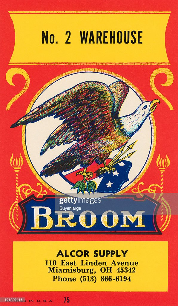 This image is from an original label applied as a sticker to the stem of brooms to identify the maker.