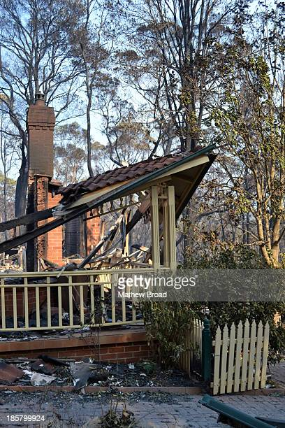 This image is from the Linksview Rd fire in Springwood, Blue Mountains, Australia. A house is in ruins after a bushfire passed through in horrendous...