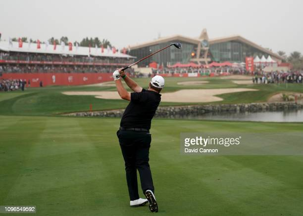 This image is part of a swing sequence frame 16 Shane Lowry of Ireland plays his second shot with a 3 wood on the par 5 18th hole during the final...