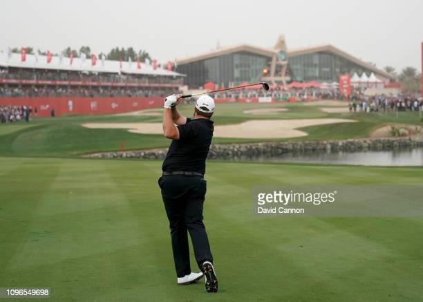 This image is part of a swing sequence frame 17 Shane Lowry of Ireland plays his second shot with a 3 wood on the par 5 18th hole during the final...