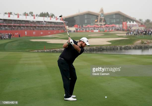 This image is part of a swing sequence frame 4 Shane Lowry of Ireland plays his second shot with a 3 wood on the par 5 18th hole during the final...