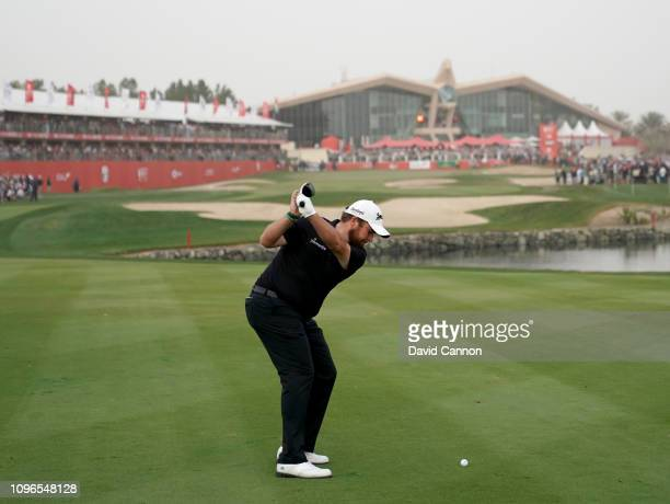 This image is part of a swing sequence frame 7 Shane Lowry of Ireland plays his second shot with a 3 wood on the par 5 18th hole during the final...