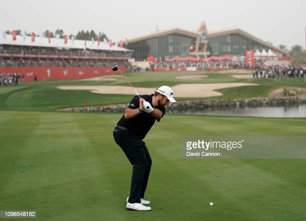 This image is part of a swing sequence frame 8 Shane Lowry of Ireland plays his second shot with a 3 wood on the par 5 18th hole during the final...