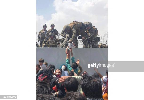 This image made available to AFP on August 20, 2021 by Human Rights Activist Omar Haidari, shows a US Marine grabbing an infant over a fence of...