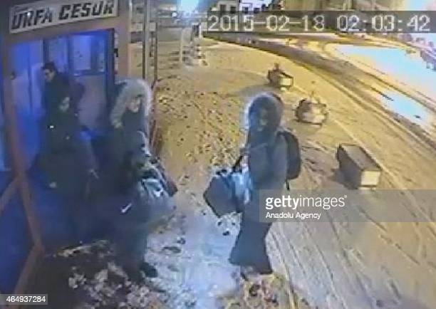 This image obtained from a security camera footage by Istanbul Police Department on February 18, 2015 shows the three missing British girls at a bus...
