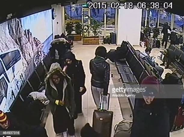 This image obtained from a security camera footage by Istanbul Police Department on February 18 2015 shows the three missing British girls at a bus...
