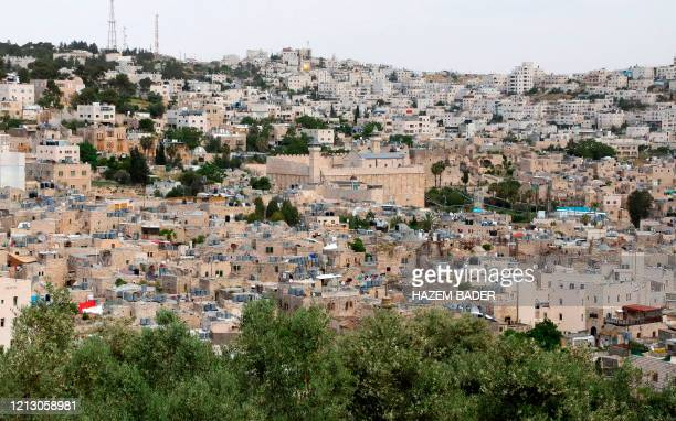 This image shown ageneral view ofthe Old City of Hebron with the Ibrahimi mosque or the Tomb of the Patriarchs, closed down during the novel...