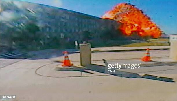 This image shows a hijacked Boeing 757 crashing into the Pentagon September 11 2001 in Washington DC 200 people were killed in the attack
