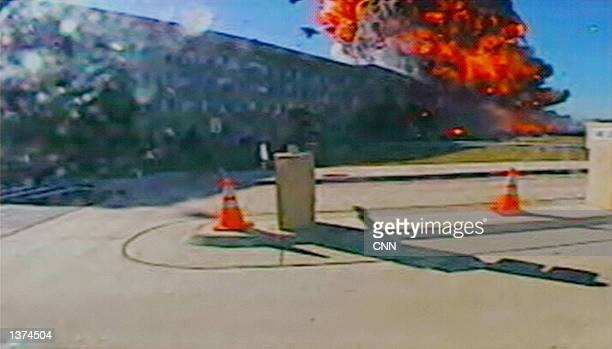 This image shows a hijacked Boeing 757 crashing into the Pentagon on September 11 2001 in Washington DC 200 people were killed in the attack