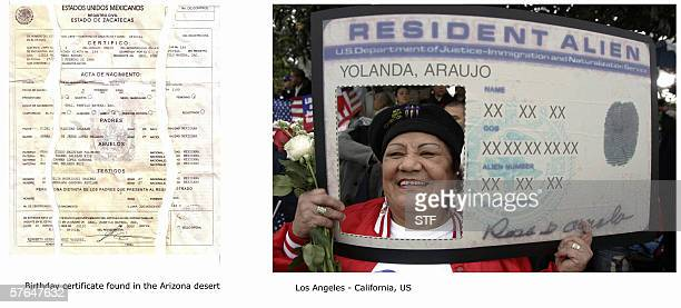 IMMIGRATION 'IDENTITY' This image shows a Mexican birth certificate which according to us border officials was found the Arizona desert along a path...