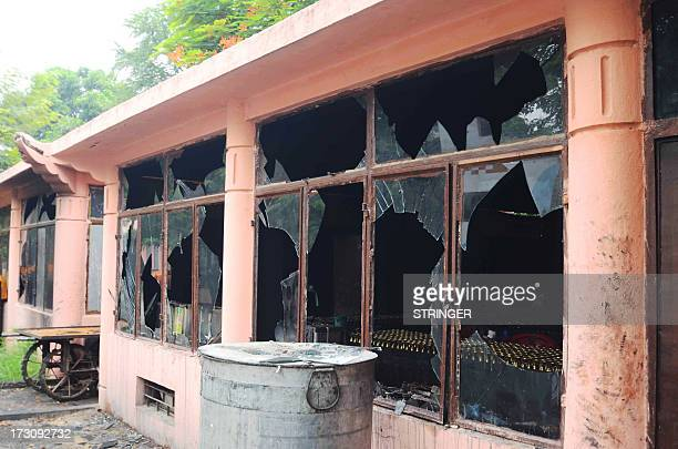 This image shows broken windows at the Bodh Gaya Buddhist temple complex after several low intensity explosions took place injuring two people on...