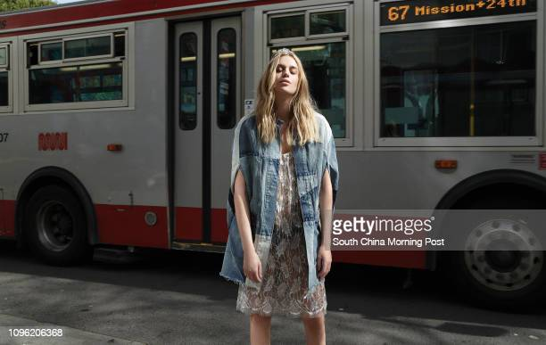 This image shows model Sydnie Miller wearing lace dress panties patched work denim cape and tiara by Saint Laurent Bold prints / 70s maximalism retro...