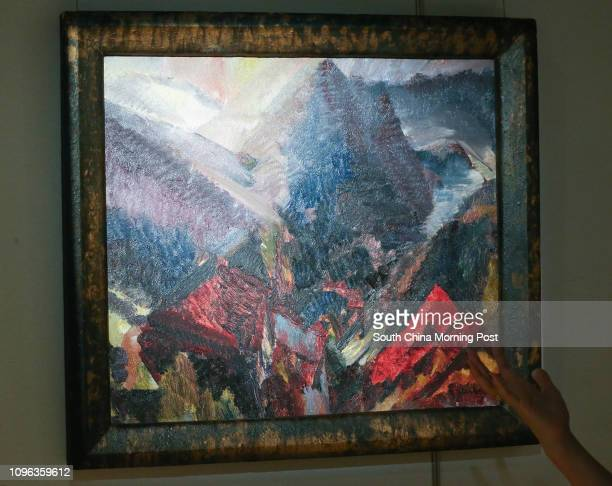 This image shows the 'David Bomberg SUNRISE IN THE MOUNTAINS PICOS DE ASTURIAS' during Sotheby's HK Media Preview of 'BOWIE/COLLECTOR' November Sales...