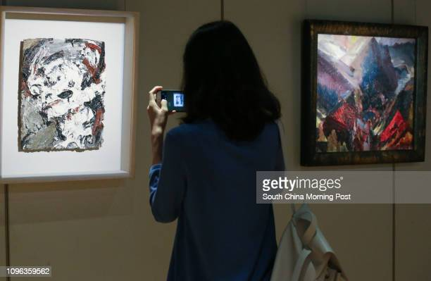 This image shows the 'Frank Auerbach B 1931 HEAD OF GERDA BOEHM oil on board' and 'David Bomberg SUNRISE IN THE MOUNTAINS PICOS DE ASTURIAS' during...