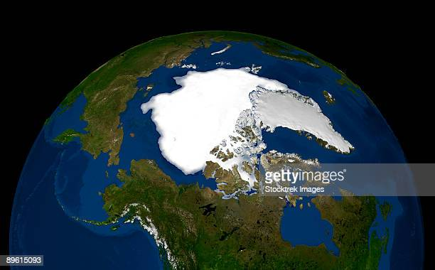 This image shows the minimum sea ice on September 21, 2005.