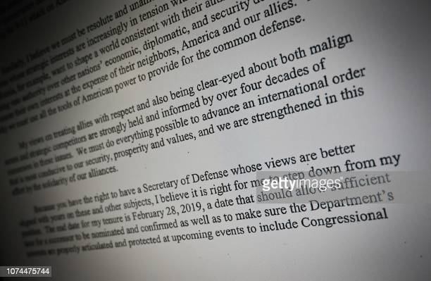 TOPSHOT This image shows the resignation letter addressed by US Secretary of Defence James Mattis to US President Donald Trump on December 20 2018...