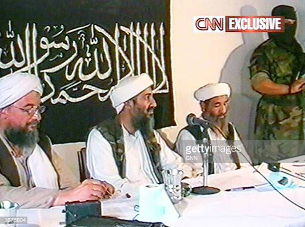 This image taken from a collection of videotapes obtained by CNN shows three members of the upper echelon of the terrorist group al Qaeda Ayman...
