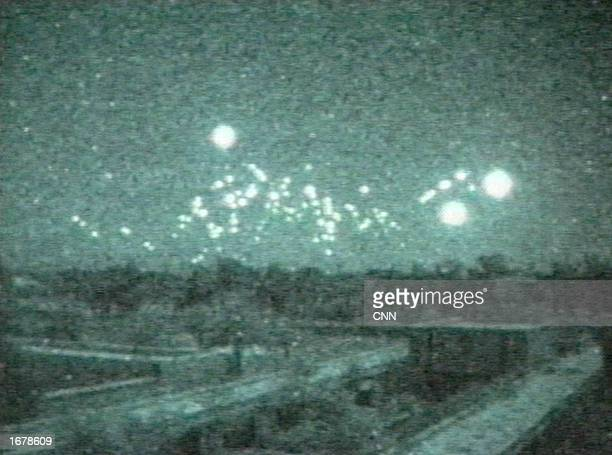 This image taken from a lowlight video camera shows tracerfire from antiaircraft guns on February 22 1991 in Baghdad Iraq The video was shot from the...
