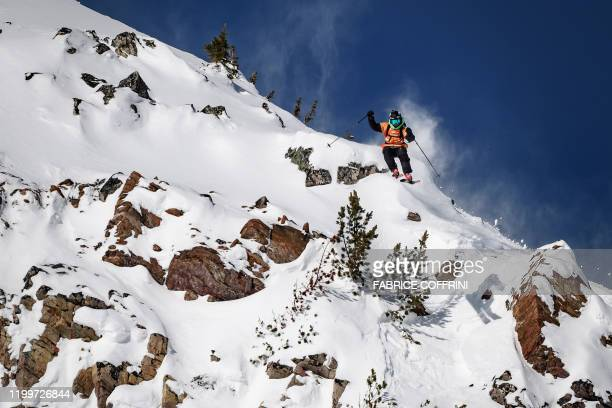 This image taken on February 7 2020 shows freeride skier Aymar Navarro of Spain competing during the Men's ski event of the second stage of the...