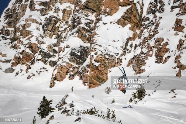 This image taken on February 7 2020 shows freeride skier Carl Regner Eriksson of Sweden competing during the Men's ski event of the second stage of...