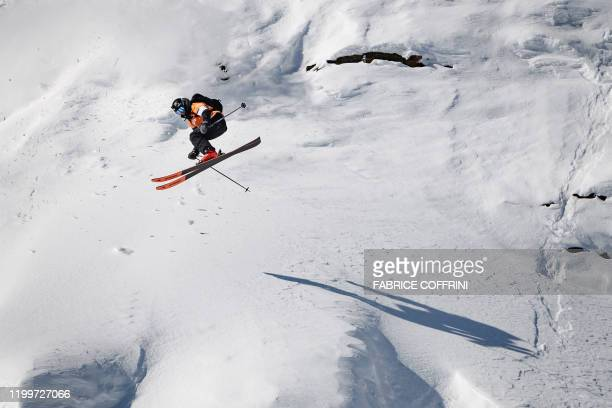 This image taken on February 7 2020 shows freeride skier Craig Murray of New Zealand competing during the Men's ski event of the second stage of the...