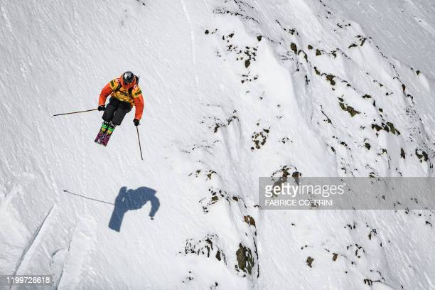 This image taken on February 7 2020 shows freeride skier Drew Tabke of the US competing during the Men's ski event of the second stage of the...