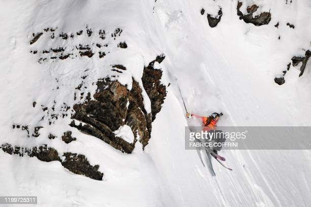 This image taken on February 7 2020 shows freeride skier Emma Patterson of the US competing during the Women's ski event of the second stage of the...