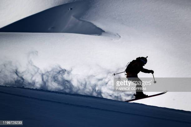This image taken on February 7 2020 shows freeride skier Evelina Nilsson of Sweden competing during the Women's ski event of the second stage of the...