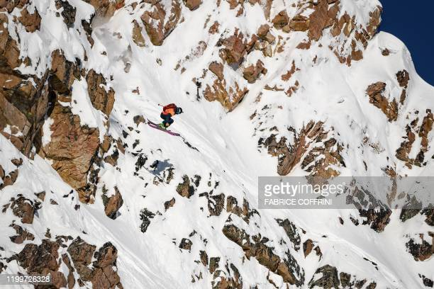 This image taken on February 7 2020 shows freeride skier Isaac Freeland of the US competing during the Men's ski event of the second stage of the...