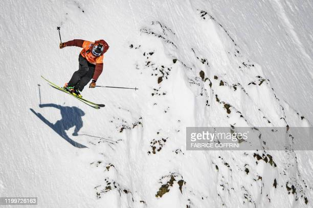 This image taken on February 7 2020 shows freeride skier Jack Nichols of the US competing during the Men's ski event of the second stage of the...