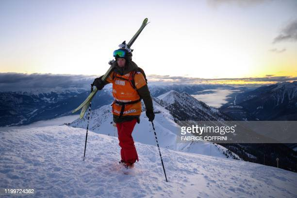 This image taken on February 7 2020 shows freeride skier Jackie Paaso of the US on her way to the Ozone mountain prior to compete during the second...