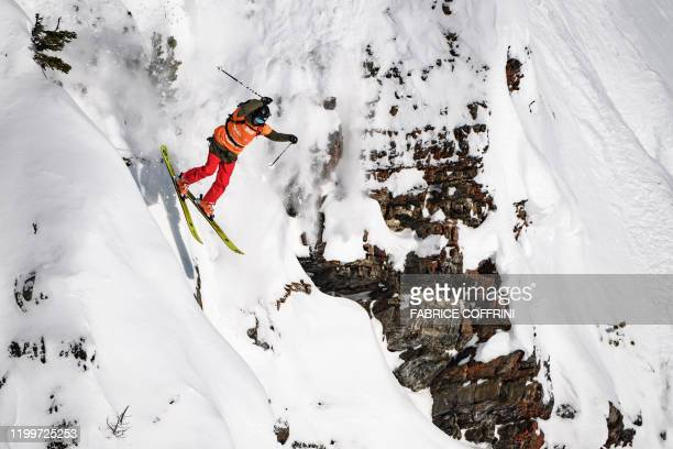 This image taken on February 7 2020 shows freeride skier Jackie Paaso of the US competing during the Women's ski event of the second stage of the...
