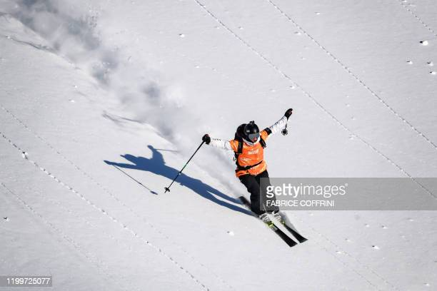 This image taken on February 7 2020 shows freeride skier Jessica Hotter of New Zealand competing during the Women's ski event of the second stage of...