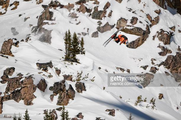 This image taken on February 7 2020 shows freeride skier Kristofer Turdell of Sweden competing during the Men's ski event of the second stage of the...