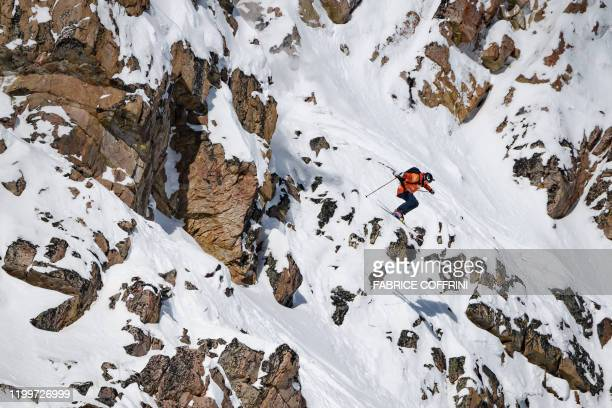 This image taken on February 7 2020 shows freeride skier Reine Barkered of Sweden competing during the Men's ski event of the second stage of the...
