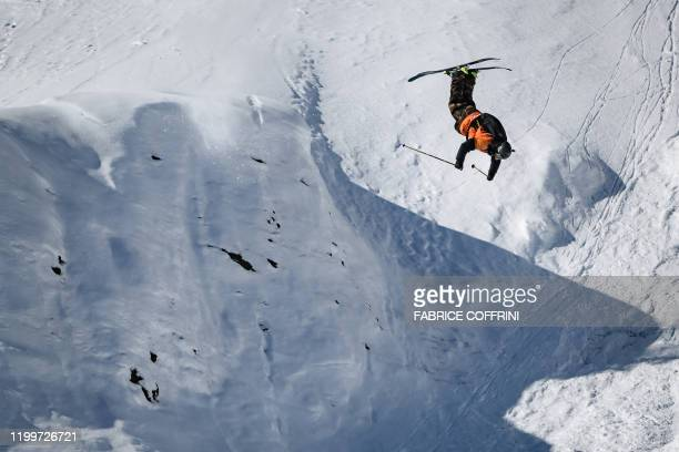 This image taken on February 7 2020 shows freeride skier Tanner Hall of the US competing during the Men's ski event of the second stage of the...
