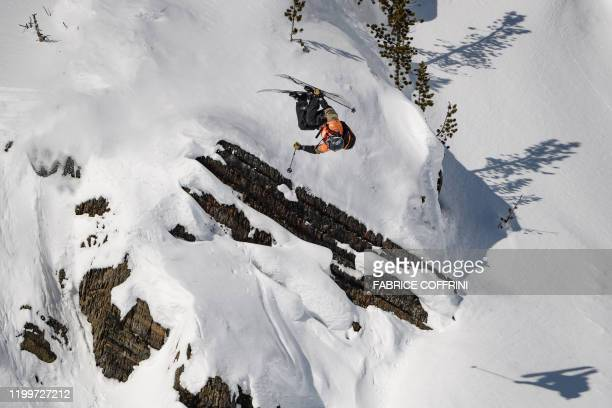 This image taken on February 7 2020 shows freeride skier Tim Durtschi of the US competing during the Men's ski event of the second stage of the...
