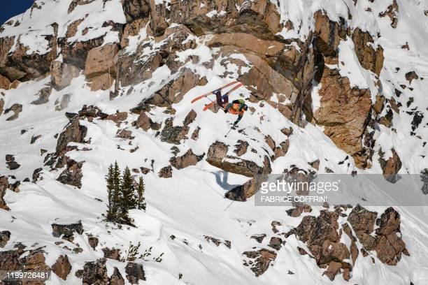 This image taken on February 7 2020 shows freeride skier Wadeck Gorak of France competing during the Men's ski event of the second stage of the...