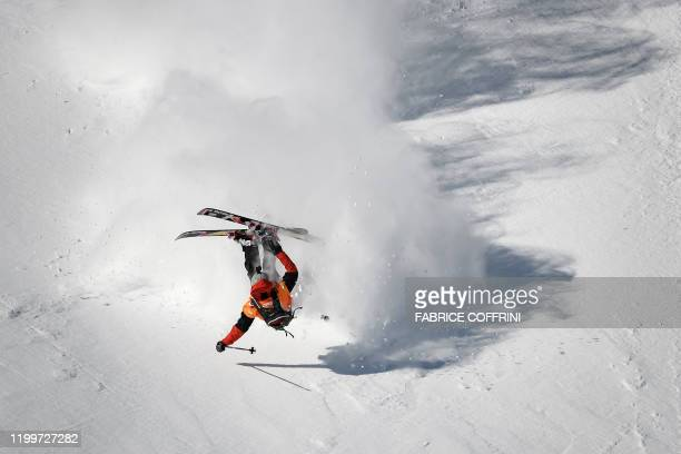 This image taken on February 7 2020 shows freeride skier Yann Rausis of Switzerland falling while competing during the Men's ski event of the second...
