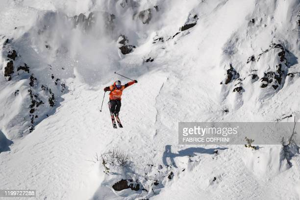 This image taken on February 7 2020 shows freeride skier Yann Rausis of Switzerland competing during the Men's ski event of the second stage of the...