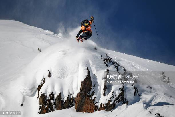 This image taken on February 7 2020 shows freeride skier Yu Sasaki of Japan competing during the Men's ski event of the second stage of the Freeride...
