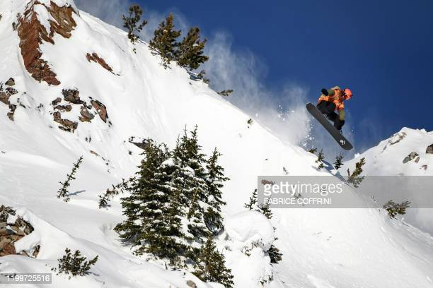 This image taken on February 7 2020 shows freeride snowboarder Gigi Ruef of Austria competing during the Men's snowboard event of the second stage of...