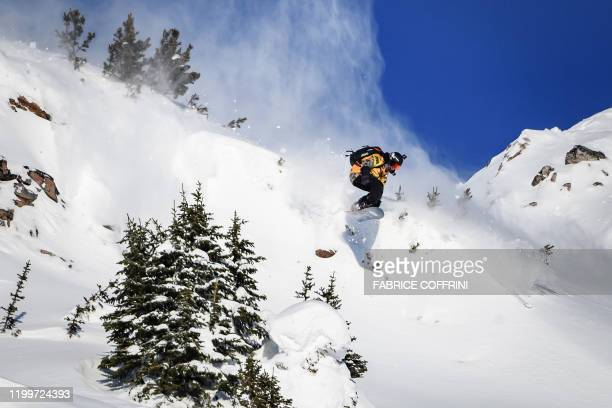 This image taken on February 7 2020 shows freeride snowboarder Marion Haerty of France competing during the Women's snowboard event of the second...