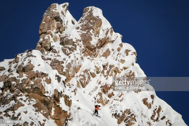 This image taken on February 7 2020 shows freeride snowborder Cody Bramwell of Sweden competing during the Men's snowboard event of the second stage...