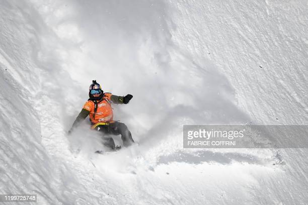 This image taken on February 7 2020 shows freeride snowborder Craig McMorris of Canada competing during the Men's snowboard event of the second stage...