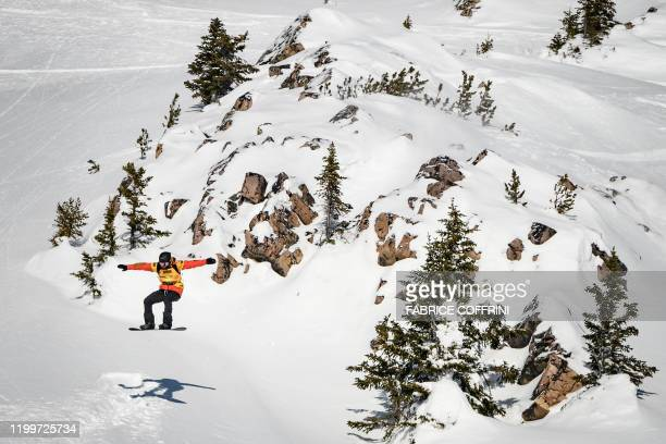 This image taken on February 7 2020 shows freeride snowborder Victor De Le Rue of France competing during the Men's snowboard event of the second...