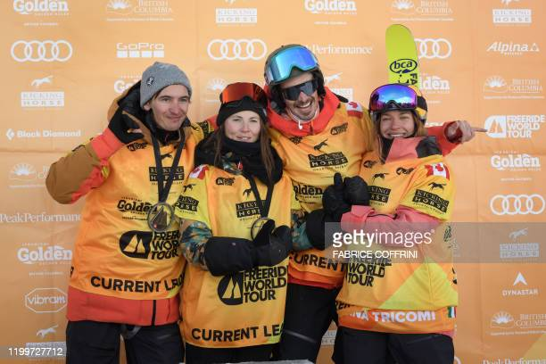 This image taken on February 7 2020 shows the current overall leaders of the Freeride World Tour Men's snowboard category Victor De Le Rue of France...